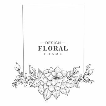 Fondo de bosquejo de tarjeta de marco floral decorativo de boda