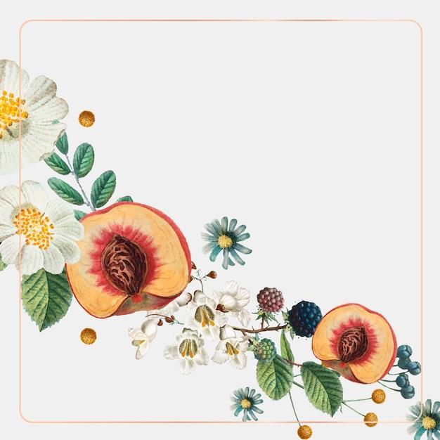 Fondo botánico de vector de marco dorado vintage