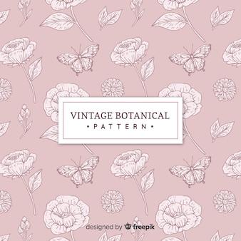 Fondo botánico vintage dibujado a mano