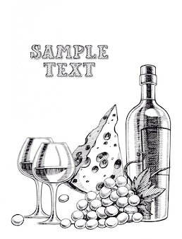 Fondo con una botella de vino