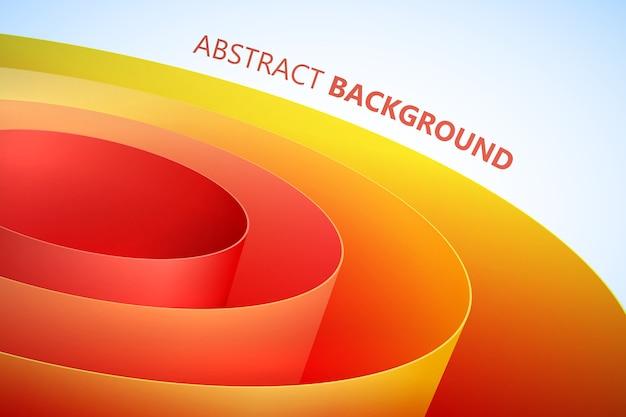 Fondo brillante abstracto con bobina de papel de embalaje enrollado naranja en estilo limpio