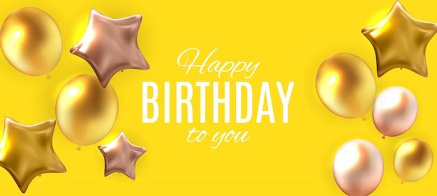 Fondo brillante de la bandera de los globos del feliz cumpleaños del color