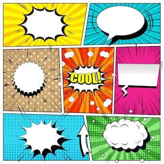 Fondo brillante de cómic con burbujas de discurso, flechas, manchas, sonido, rayos y diferentes efectos de semitonos