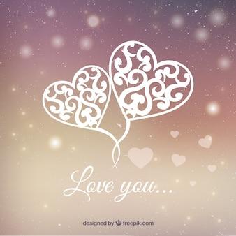 Fondo brillante de corazones ornamentales