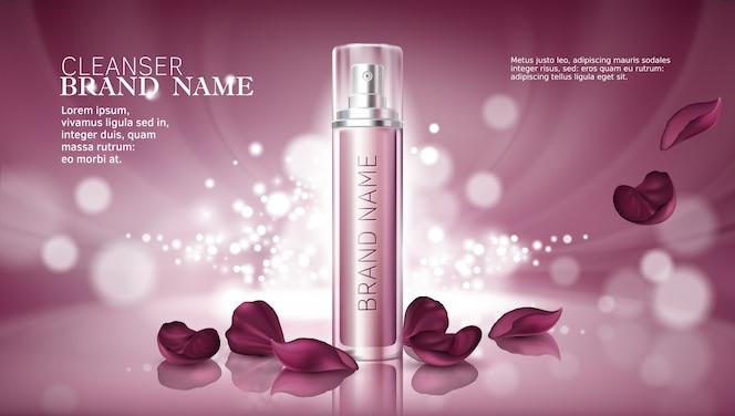 Fondo brillante de color rosa con productos cosméticos hidratantes premium