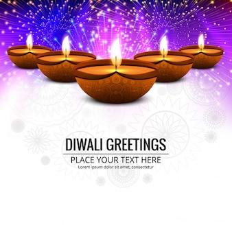 Fondo brillante de diwali de fuegos artificiales con velas