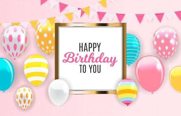 Fondo brillante feliz cumpleaños globos