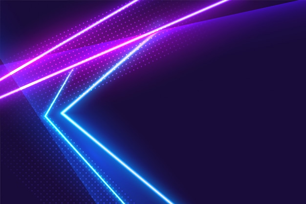 Fondo brillante de luces de neón azul y púrpura
