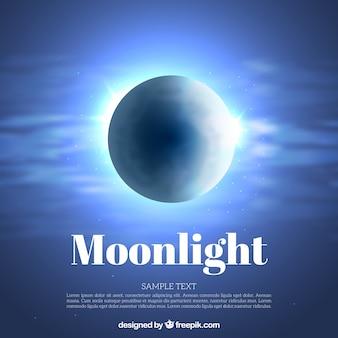 Fondo de brillante luna en el cielo