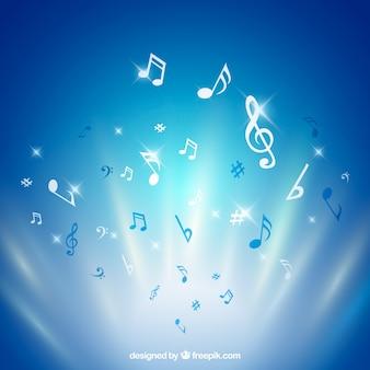 Fondo brillante de notas musicales