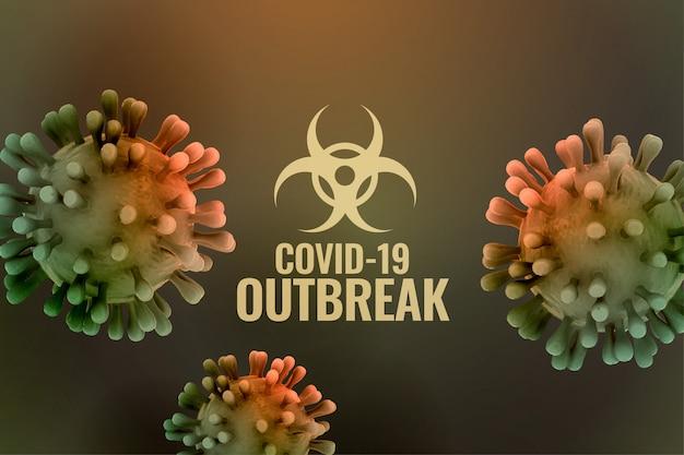 Fondo de brote pandémico de covornavirus con células de virus 3d