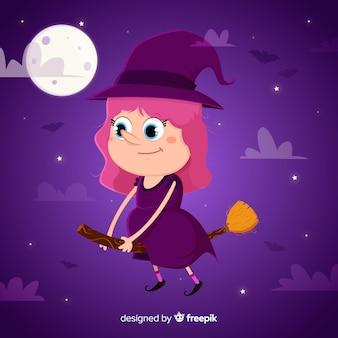 Fondo con bruja adorable de halloween