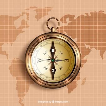 Fondo de brújula dorada sobre mapa del mundo