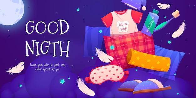 Fondo de buenas noches de dibujos animados