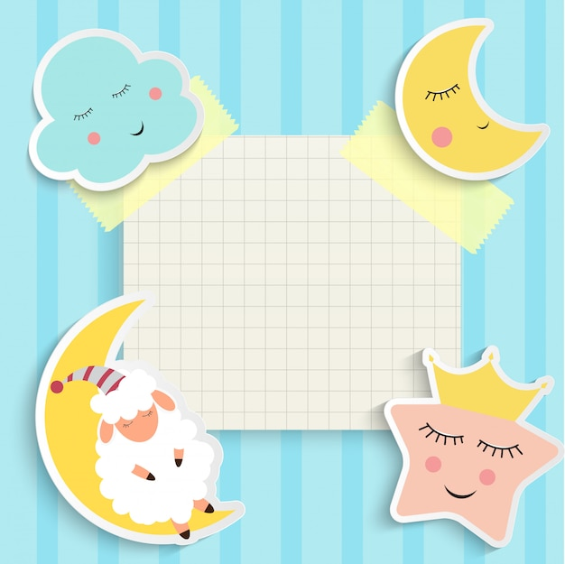 Fondo de buenas noches de niño con nube, estrella y luna. lugar para el texto. ilustración