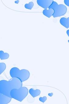 Fondo de burbuja de corazón azul