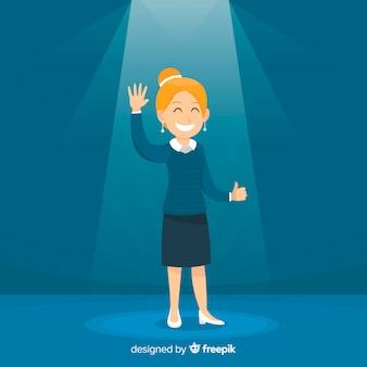 Fondo buscando talento mujer saludando