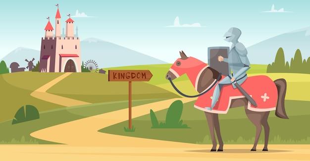 Fondo de caballero medieval. escena de dibujos animados de castillo al aire libre de personajes blindados históricos. castillo y caballero, cuento de hadas de ilustración medieval