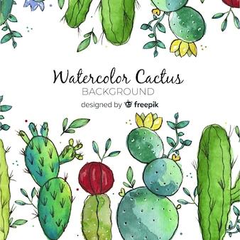 Fondo de cactus en acuarela