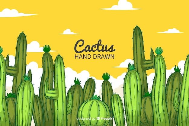 Fondo de cactus dibujado a mano