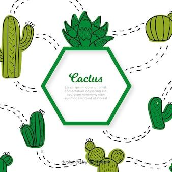 Fondo cactus dibujados a mano