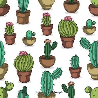 Fondo cactus de formas diferentes dibujados a mano