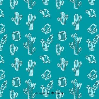 Fondo cactus garabatos dibujados a mano