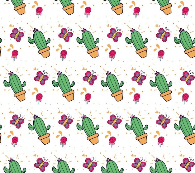 Fondo de cactus y mariposa