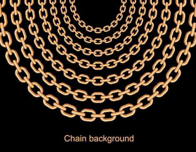 Fondo con cadenas de collar metálico dorado.
