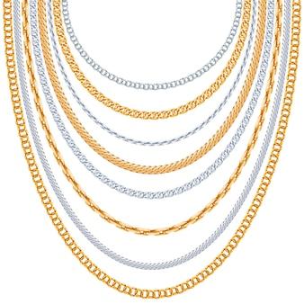 Fondo de cadenas de oro. colgante de plata, enlace metálico brillante