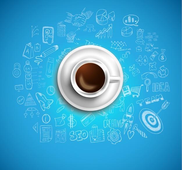 Fondo con un café recién hecho en la mesa con iconos