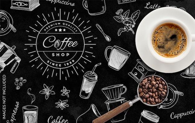 Fondo de cafetería en blanco y negro