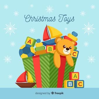 Fondo caja de juguetes navidad