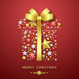 Fondo de caja de regalo de navidad con arco brillante, estrellas y bolas de colores