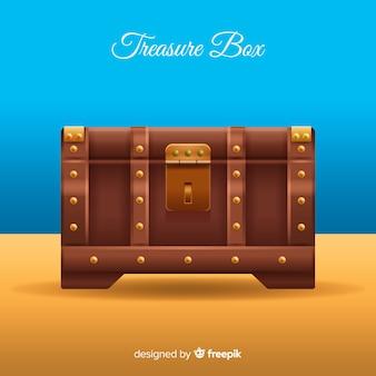 Fondo de caja del tesoro antigua con diseño plano