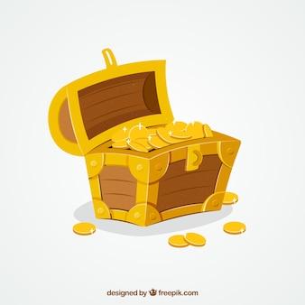 Fondo de caja del tesoro con oro y diamantes