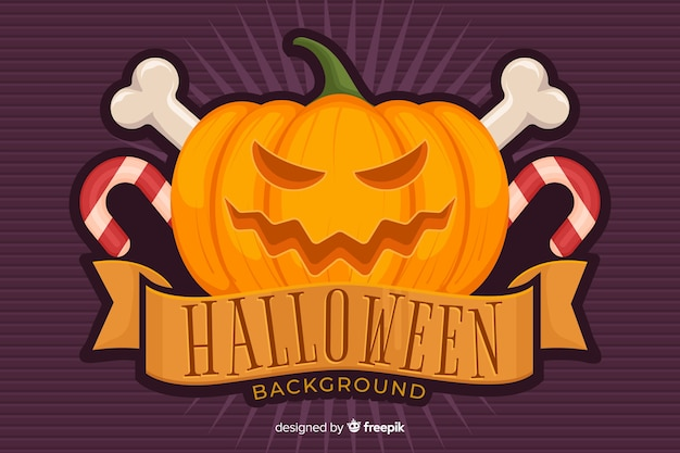 Fondo de calabaza de halloween en diseño plano