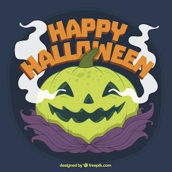Fondo de calabaza humeante de halloween