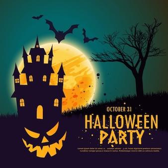 Fondo con una calabaza sobre una casa encantada para halloween
