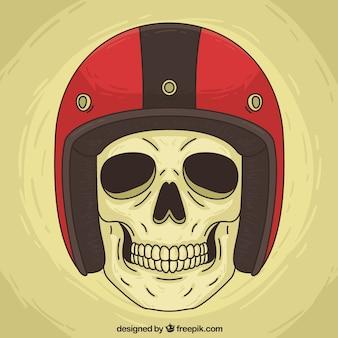 Fondo de calavera con casco rojo