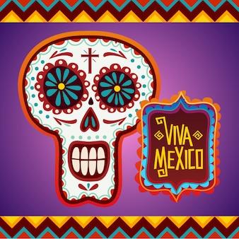 Fondo con calavera mexicana