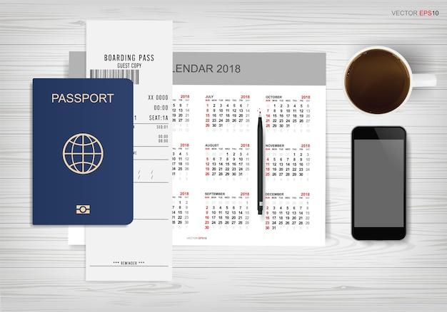 Fondo de calendario abstracto con pasaporte y taza de café en madera. antecedentes para el turismo y la idea de viajar. ilustración vectorial.