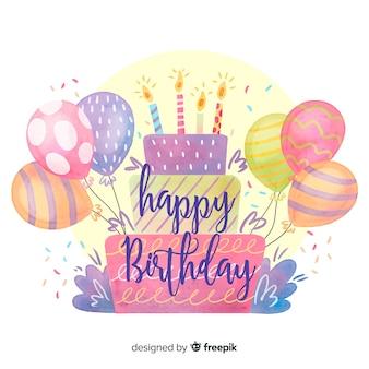 Fondo de caligrafía de feliz cumpleaños en acuarela