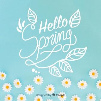 Fondo caligráfica de primavera con fotografía