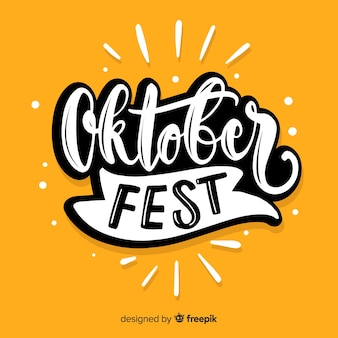 Fondo caligráfico amarillo del oktoberfest
