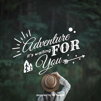 Fondo caligráfico de aventura con fotografía