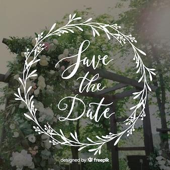 Fondo caligráfico de boda con fotografía