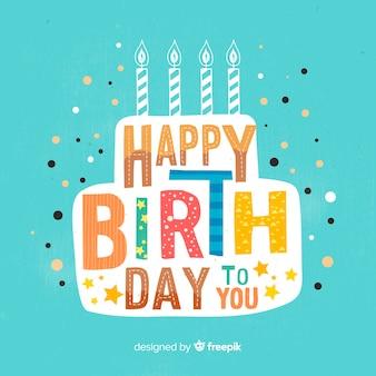 Fondo caligráfico colorido de feliz cumpleaños