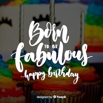 Fondo caligráfico de cumpleaños