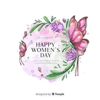Fondo caligráfico del día de la mujer en acuarela